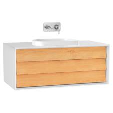 Frame Lavabo Dolabı 100 cm Tek Çekmeceli Tezgahüstü Tv-Shape Lavabolu Armatür Deliksiz Mat Soft Beyaz