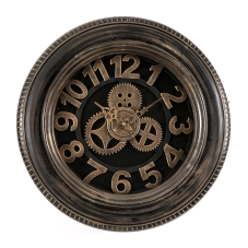 Kahve Metal Çarklı Duvar Saati