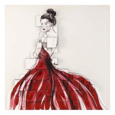 Dore 3 Boyutlu Bordo Elbiseli Kadın Dekoratif Tablo