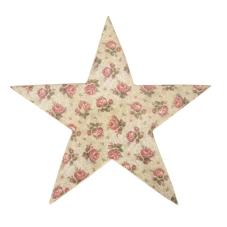 Şiva Çiçek Desenli Dekoratif Yıldız Krem Büyük Boy