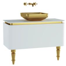 Gala Classic Lavabo Dolabı 100 cm Parlak Beyaz Altın