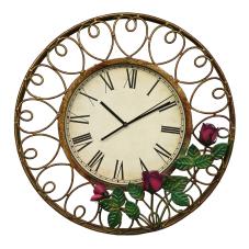 Lux Metal Çiçekli Duvar Saati