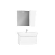 Step Demonte Set 85 cm Çekmeceli (Lavabo Dolabı Yandan Dolaplı Ayna) Parlak Beyaz