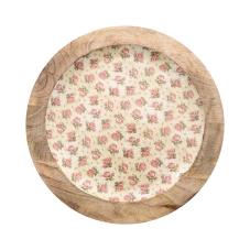 Şiva Çiçek Desenli Dekoratif Tabak Krem