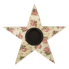 Şiva Çiçek Desenli Yıldız T-Light Krem
