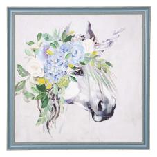 Pera Mavi Çiçekli Dekoratif Tablo