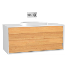 Frame Lavabo Dolabı 120 cm Çift Çekmeceli Tezgahüstü Tv-Shape Lavabolu Armatür Deliksiz Mat Soft Beyaz