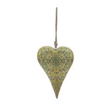 Şiva Çiçek Desenli Yeşil Kalp Büyük Boy