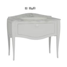 Elegance Lavabo Dolabı 100 cm Tezgahaltı Lavabolu Mermersiz Beyaz Seramik Kulplu Mat Beyaz