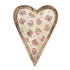Şiva Çiçek Desenli Krem Dekoratif Kalp Büyük Boy