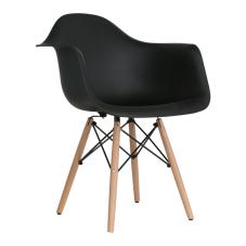 Aqua Kollu Siyah Ahşap Ayaklı Sandalye