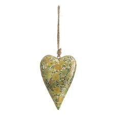 Şiva Çiçek Desenli Yeşil Kalp Orta Boy