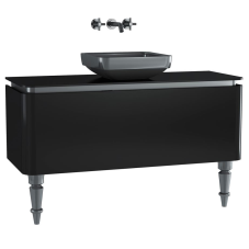 Gala Classic Lavabo Dolabı 120 cm Parlak Siyah Krom