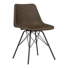 Leather Kahve Metal Ayaklı Sandalye