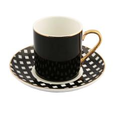 Style 6'lı Siyah Kahve Fincan Takımı