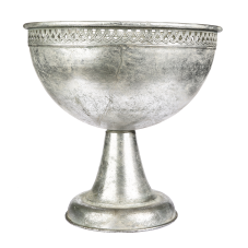Margari Gümüş Metal Ayaklı Oval Vazo