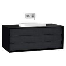 Frame Lavabo Dolabı 100 cm Tek Çekmeceli, Tezgahüstü Tv-Shape Lavabolu Armatür Deliksiz Mat Soft Siyah
