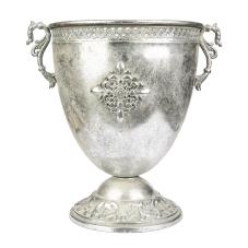 Marial Gümüş Metal Oval Kupa Vazo