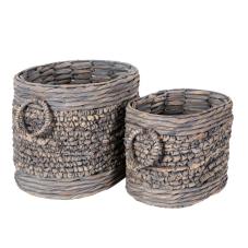 Ha Long 2'Li Taş Görünümlü Örgü Sepet