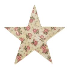 Şiva Çiçek Desenli Dekoratif Yıldız Krem Küçük Boy