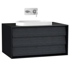 Frame Lavabo Dolabı 80 cm Tek Çekmeceli Tezgahüstü Tv-Shape Lavabolu Armatür Deliksiz Mat Soft Siyah