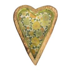 Şiva Çiçek Desenli Yeşil Dekoratif Kalp Orta Boy