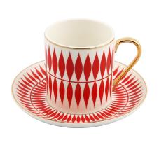 Style 6'lı Kırmızı Beyaz Kahve Fincan Takımı