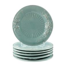 Turkuaz Çiçekli Porselen 6Lı Servis Tabağı