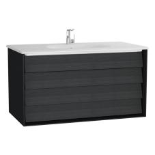 Frame Lavabo Dolabı 100 cm Çift Çekmeceli Beyaz Etajerli Lavabolu Mat Soft Siyah