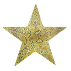 Şiva Çiçek Desenli Dekoratif Yıldız Yeşil Büyük Boy