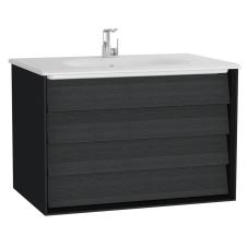 Frame Lavabo Dolabı 80 cm Çift Çekmeceli Beyaz Etajerli Lavabolu Mat Soft Siyah