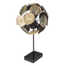 Lux Sedefli Dekoratif Metal Puf Çiçeği