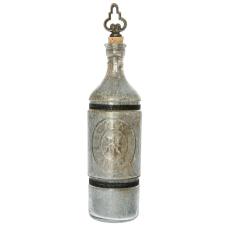 Rani Kabartmalı Eskitme Dekoratif Cam Şişe