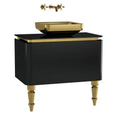 Gala Classic Lavabo Dolabı 80 cm Parlak Siyah Altın