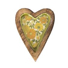 Şiva Çiçek Desenli Yeşil Dekoratif Kalp Küçük Boy