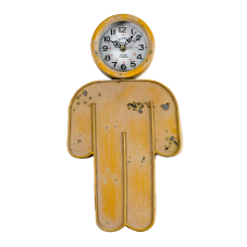 Sarı Metal Erkek Figür Duvar Saati