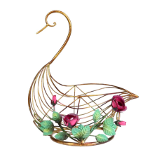 Lux Metal Çiçekli Kuğu Dekor