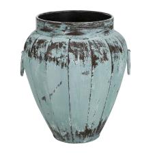 Lux Eskitme Buz Mavisi Oval Metal Vazo
