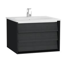 Frame Lavabo Dolabı 60 cm Tek Çekmeceli Beyaz Etajerli Lavabolu Mat Soft Siyah