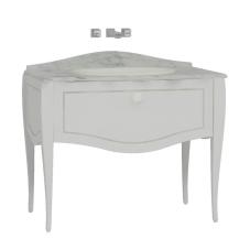 Elegance Lavabo Dolabı 100 cm Tezgahüstü Lavabolu Mermersiz Beyaz Seramik Kulplu Mat Beyaz