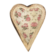 Şiva Çiçek Desenli Krem Dekoratif Kalp Orta Boy
