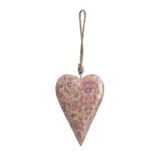 Şiva Çiçek Desenli Pembe Kalp Orta Boy