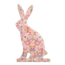 Şiva Çiçek Desenli Dekoratif Tavşan Küçük Boy Pembe