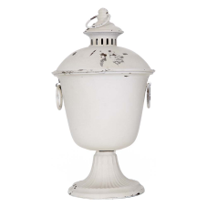 Sahara Beyaz Metal Kapaklı Dekoratif Vazo