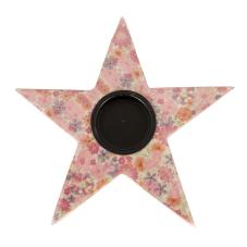 Şiva Çiçek Desenli Yıldız T-light Pembe