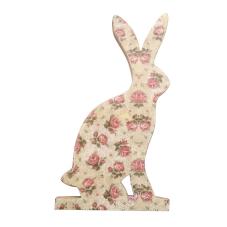 Şiva Çiçek Desenli Dekoratif Tavşan Büyük Boy Krem
