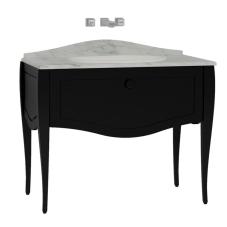 Elegance Lavabo Dolabı 100 cm Tezgahüstü Lavabolu Mermersiz Siyah Seramik Kulplu Mat Siyah