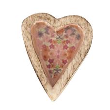 Şiva Çiçek Desenli Pembe Dekoratif Kalp Küçük Boy