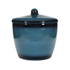 Mihir Mavi Kapaklı Oval Vazo Büyük Boy