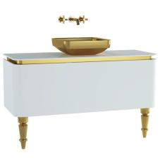 Gala Classic Lavabo Dolabı 120 cm Parlak Beyaz Altın